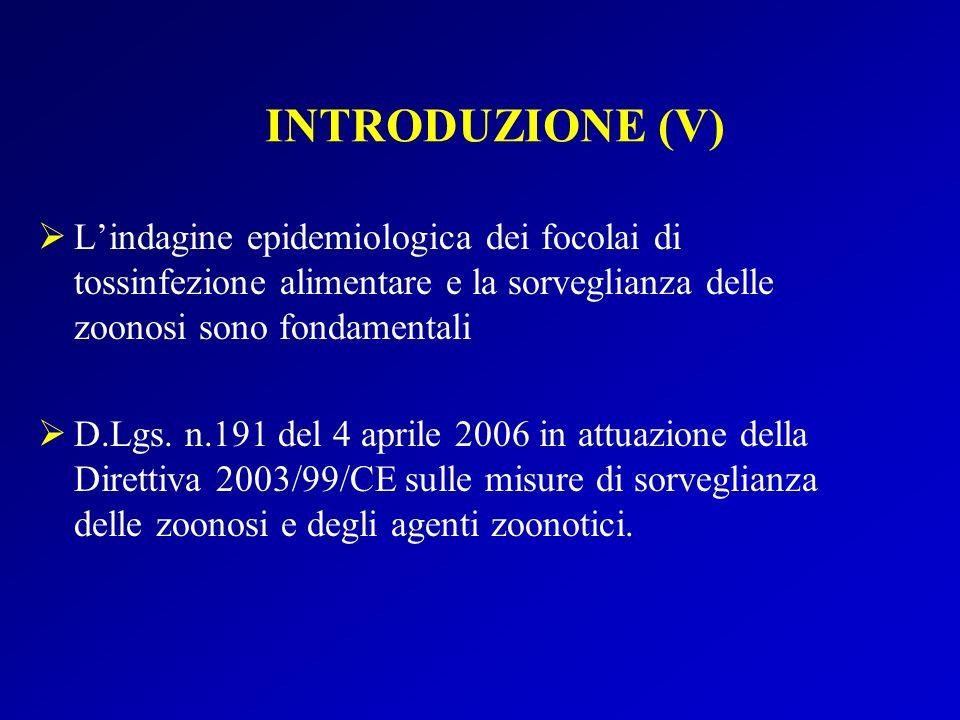 Lindagine epidemiologica dei focolai di tossinfezione alimentare e la sorveglianza delle zoonosi sono fondamentali D.Lgs.
