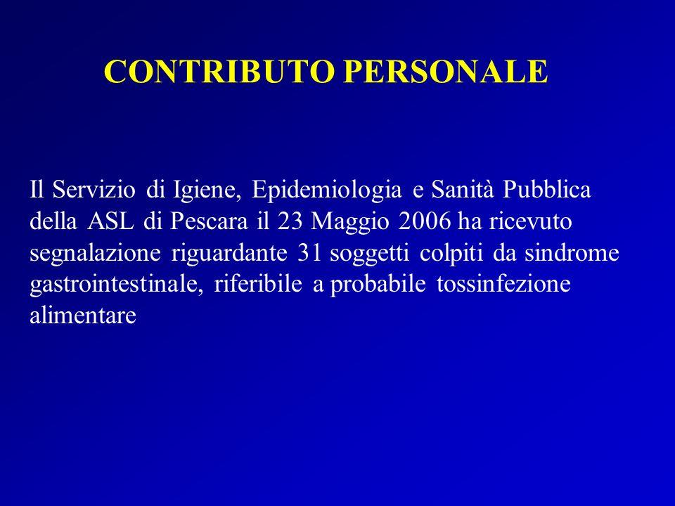 CONTRIBUTO PERSONALE Il Servizio di Igiene, Epidemiologia e Sanità Pubblica della ASL di Pescara il 23 Maggio 2006 ha ricevuto segnalazione riguardante 31 soggetti colpiti da sindrome gastrointestinale, riferibile a probabile tossinfezione alimentare