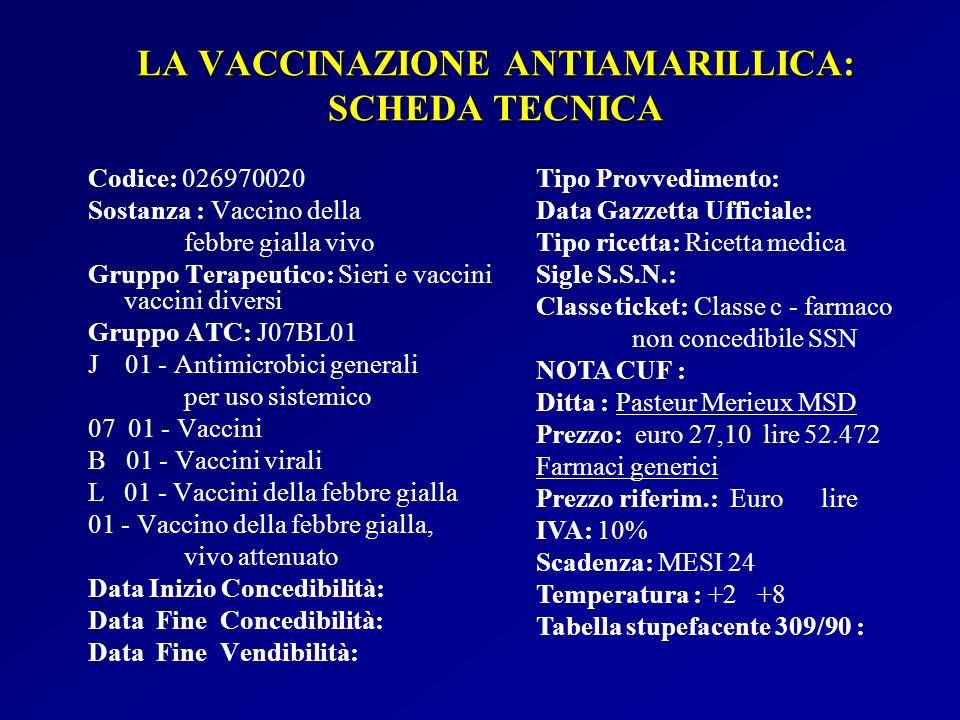 LA VACCINAZIONE ANTIAMARILLICA: SCHEDA TECNICA Codice: 026970020 Sostanza : Vaccino della febbre gialla vivo Gruppo Terapeutico: Sieri e vaccini vacci
