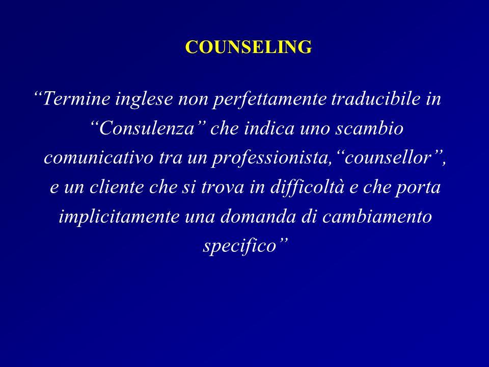 COUNSELING Termine inglese non perfettamente traducibile in Consulenza che indica uno scambio comunicativo tra un professionista,counsellor, e un clie