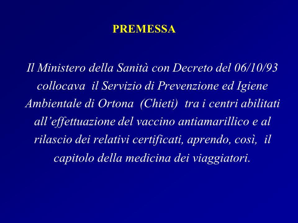 Il Ministero della Sanità con Decreto del 06/10/93 collocava il Servizio di Prevenzione ed Igiene Ambientale di Ortona (Chieti) tra i centri abilitati