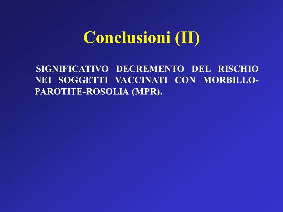 Conclusioni (II) SIGNIFICATIVO DECREMENTO DEL RISCHIO NEI SOGGETTI VACCINATI CON MORBILLO- PAROTITE-ROSOLIA (MPR).