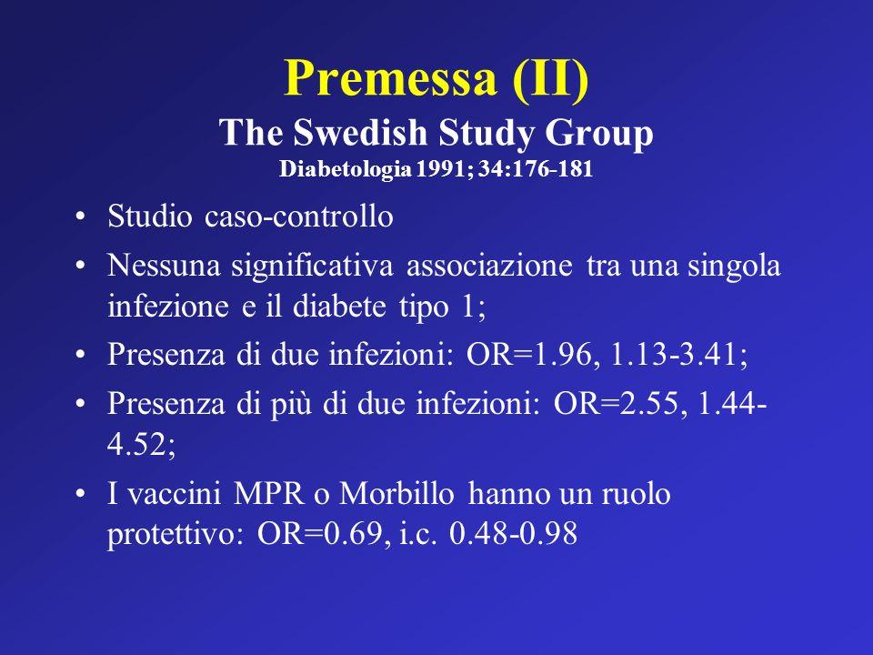 Premessa (II) The Swedish Study Group Diabetologia 1991; 34:176-181 Studio caso-controllo Nessuna significativa associazione tra una singola infezione