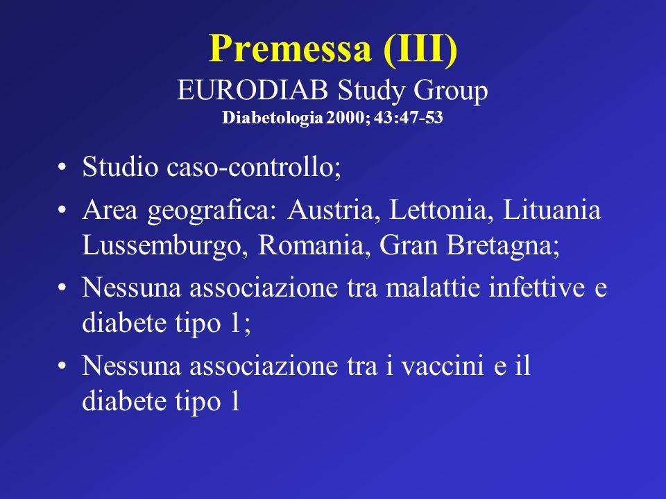 Premessa (III) EURODIAB Study Group Diabetologia 2000; 43:47-53 Studio caso-controllo; Area geografica: Austria, Lettonia, Lituania Lussemburgo, Roman