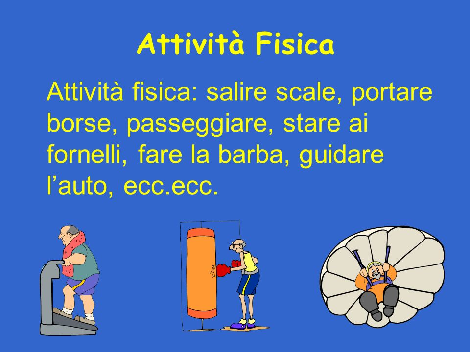 Attività Fisica Attività fisica: salire scale, portare borse, passeggiare, stare ai fornelli, fare la barba, guidare lauto, ecc.ecc.