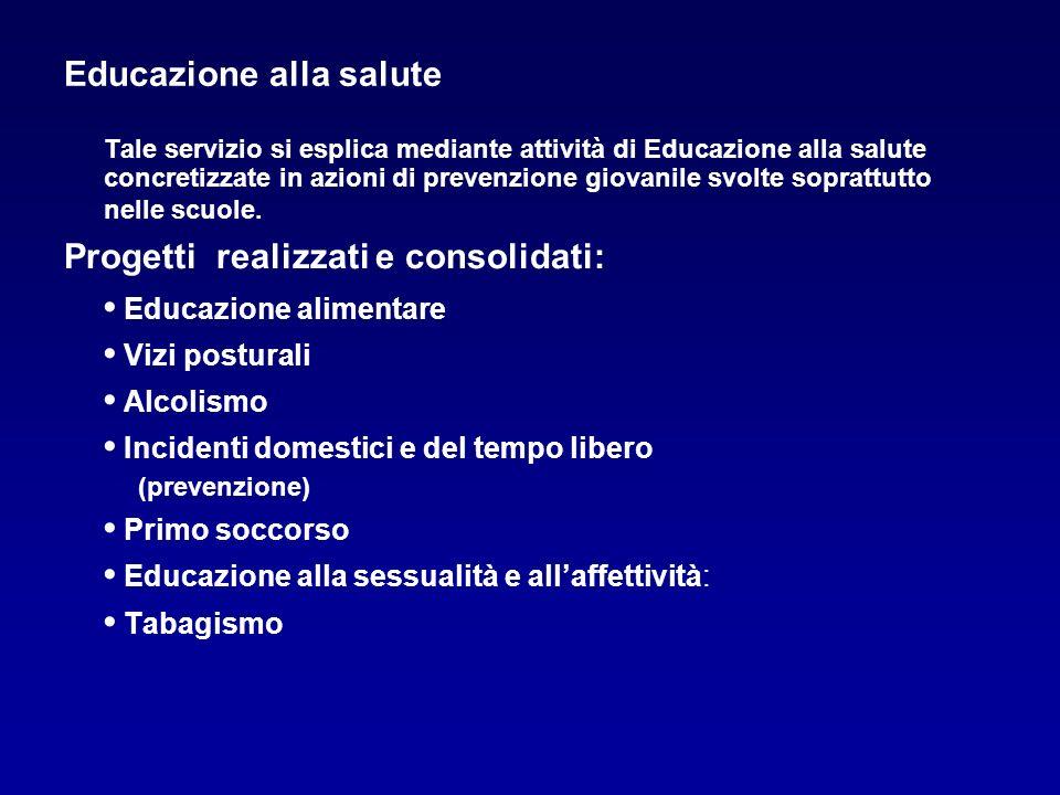 Educazione alla salute Tale servizio si esplica mediante attività di Educazione alla salute concretizzate in azioni di prevenzione giovanile svolte so