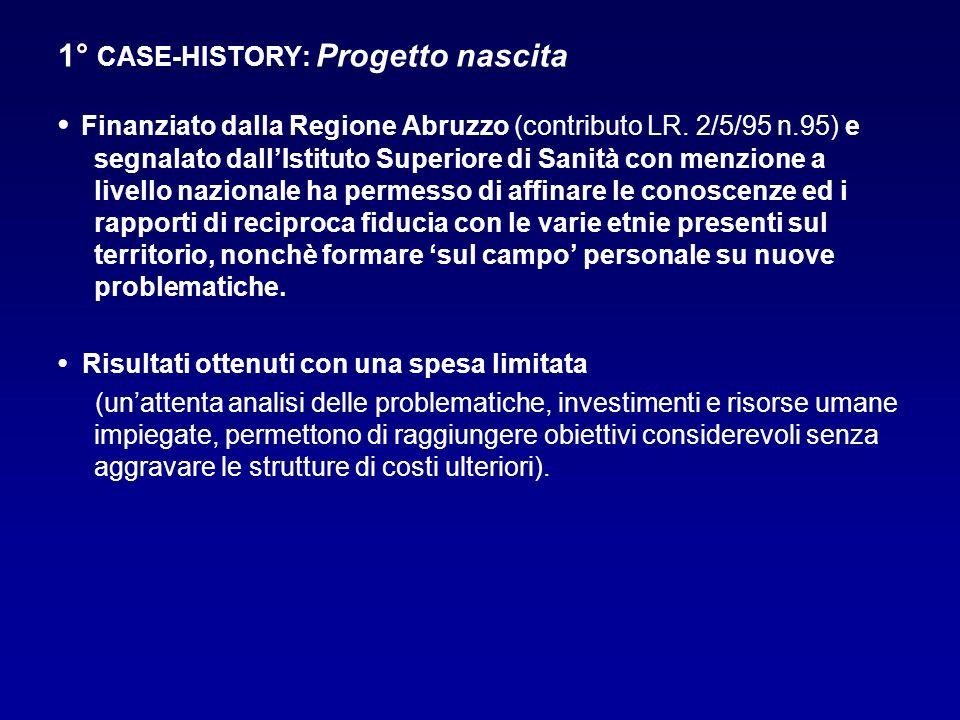 1° CASE-HISTORY: Progetto nascita Finanziato dalla Regione Abruzzo (contributo LR. 2/5/95 n.95) e segnalato dallIstituto Superiore di Sanità con menzi