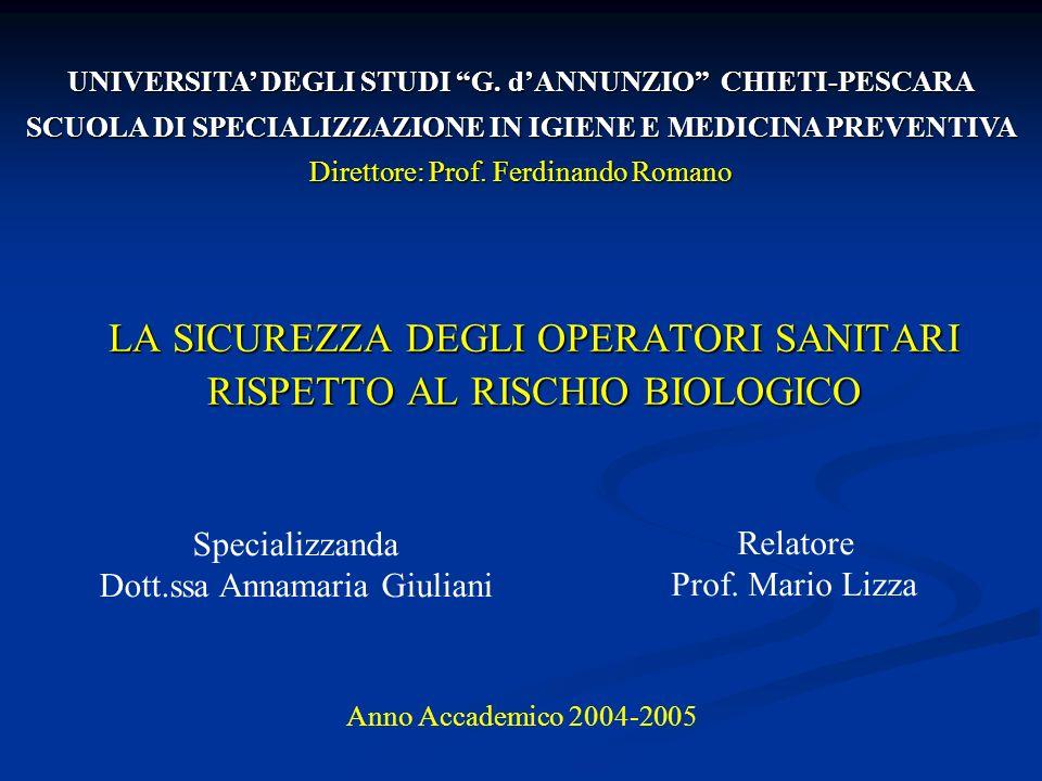 LA SICUREZZA DEGLI OPERATORI SANITARI RISPETTO AL RISCHIO BIOLOGICO Specializzanda Dott.ssa Annamaria Giuliani UNIVERSITA DEGLI STUDI G. dANNUNZIO CHI