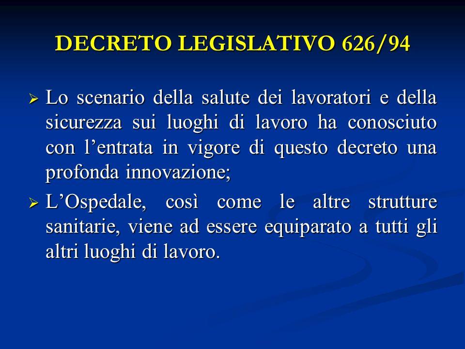 DECRETO LEGISLATIVO 626/94 Lo scenario della salute dei lavoratori e della sicurezza sui luoghi di lavoro ha conosciuto con lentrata in vigore di ques