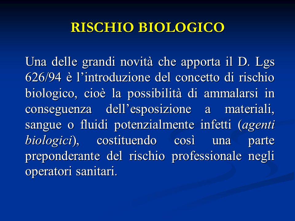 RISCHIO BIOLOGICO Una delle grandi novità che apporta il D. Lgs 626/94 è lintroduzione del concetto di rischio biologico, cioè la possibilità di ammal