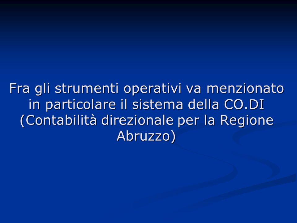 Fra gli strumenti operativi va menzionato in particolare il sistema della CO.DI (Contabilità direzionale per la Regione Abruzzo)