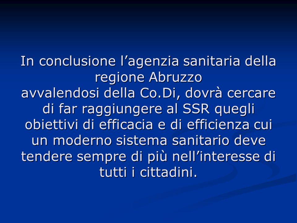 In conclusione lagenzia sanitaria della regione Abruzzo avvalendosi della Co.Di, dovrà cercare di far raggiungere al SSR quegli obiettivi di efficacia e di efficienza cui un moderno sistema sanitario deve tendere sempre di più nellinteresse di tutti i cittadini.