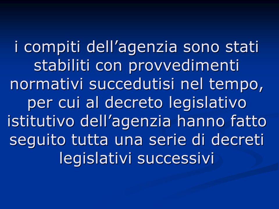 i compiti dellagenzia sono stati stabiliti con provvedimenti normativi succedutisi nel tempo, per cui al decreto legislativo istitutivo dellagenzia hanno fatto seguito tutta una serie di decreti legislativi successivi