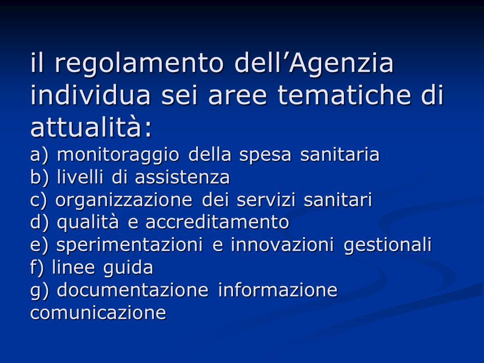 il regolamento dellAgenzia individua sei aree tematiche di attualità: a) monitoraggio della spesa sanitaria b) livelli di assistenza c) organizzazione dei servizi sanitari d) qualità e accreditamento e) sperimentazioni e innovazioni gestionali f) linee guida g) documentazione informazione comunicazione