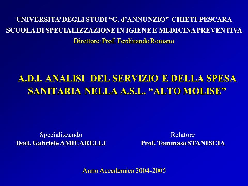 A.D.I. ANALISI DEL SERVIZIO E DELLA SPESA SANITARIA NELLA A.S.L. ALTO MOLISE Specializzando Dott. Gabriele AMICARELLI UNIVERSITA DEGLI STUDI G. dANNUN
