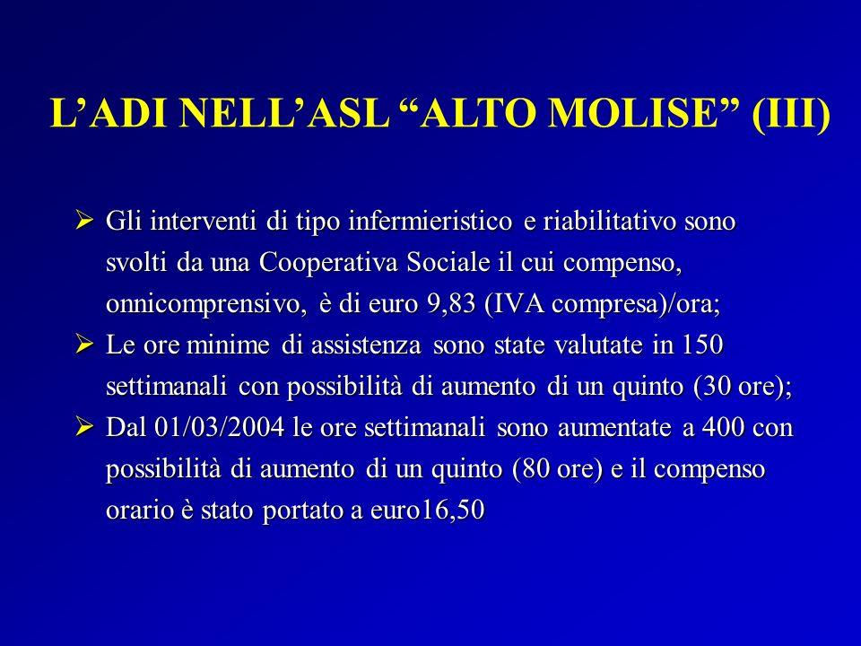 Gli interventi di tipo infermieristico e riabilitativo sono svolti da una Cooperativa Sociale il cui compenso, onnicomprensivo, è di euro 9,83 (IVA co
