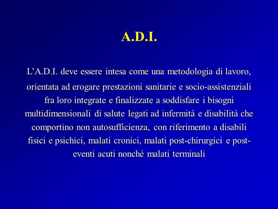 A.D.I. LA.D.I. deve essere intesa come una metodologia di lavoro, orientata ad erogare prestazioni sanitarie e socio-assistenziali fra loro integrate