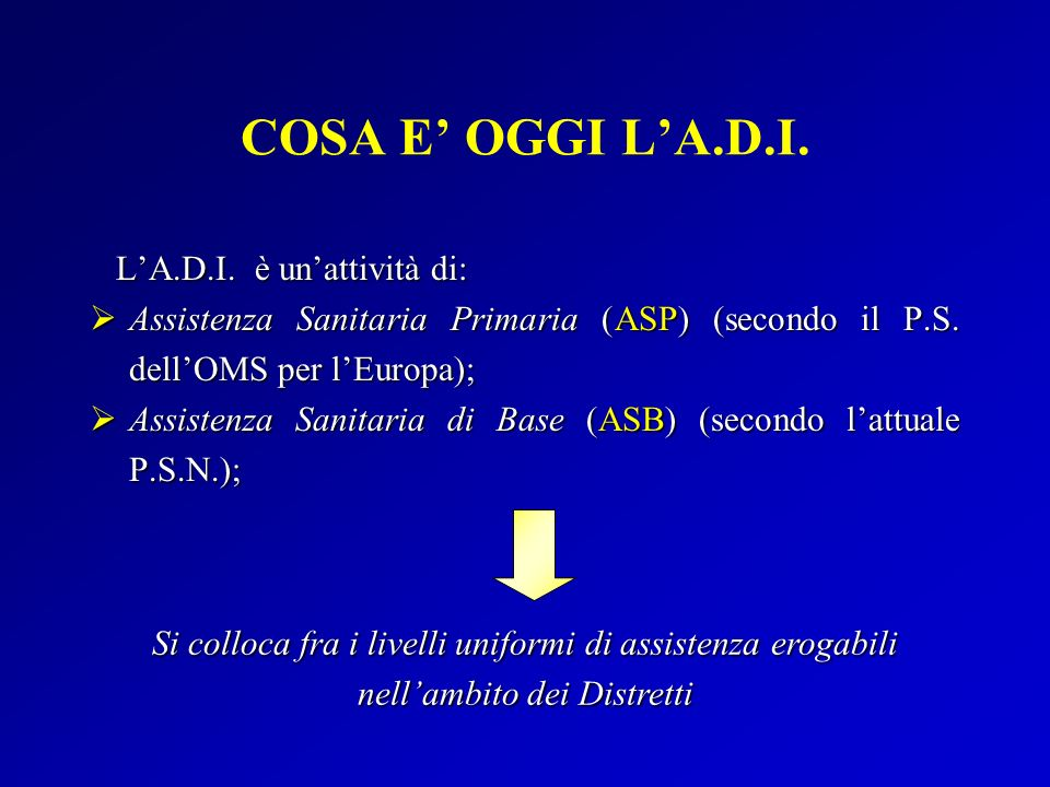 LA.D.I. è unattività di: LA.D.I. è unattività di: Assistenza Sanitaria Primaria (ASP) (secondo il P.S. dellOMS per lEuropa); Assistenza Sanitaria Prim
