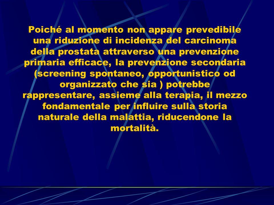La diagnosi del carcinoma prostatico si base sulle seguenti indagini: Esplorazione digito-rettale (DRE) Dosaggio del PSA Ecografia transrettale (TRUS) Agobiopsia prostatica