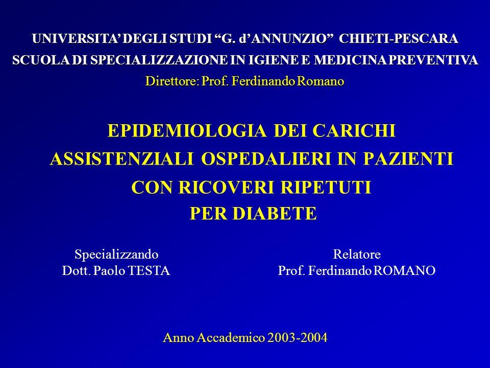 EPIDEMIOLOGIA DEI CARICHI ASSISTENZIALI OSPEDALIERI IN PAZIENTI CON RICOVERI RIPETUTI PER DIABETE Specializzando Dott.