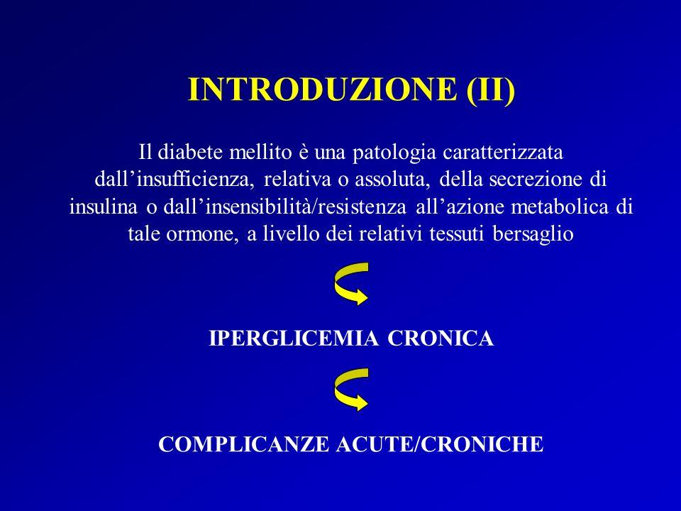 INTRODUZIONE (II) COMPLICANZE ACUTE/CRONICHE IPERGLICEMIA CRONICA Il diabete mellito è una patologia caratterizzata dallinsufficienza, relativa o assoluta, della secrezione di insulina o dallinsensibilità/resistenza allazione metabolica di tale ormone, a livello dei relativi tessuti bersaglio