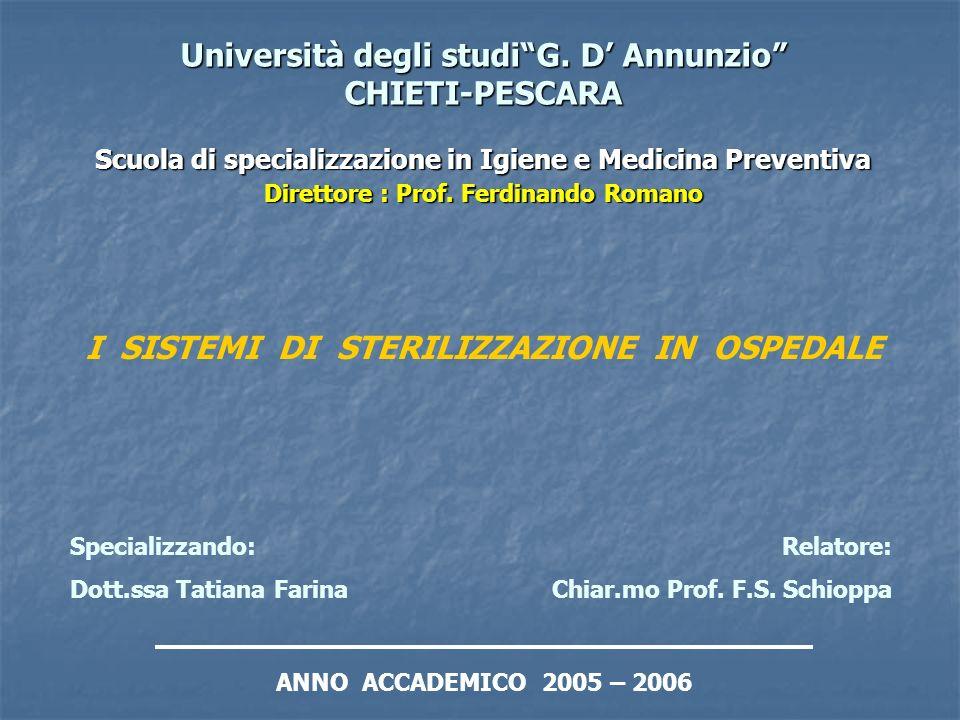 Università degli studiG. D Annunzio CHIETI-PESCARA Scuola di specializzazione in Igiene e Medicina Preventiva Direttore : Prof. Ferdinando Romano I SI