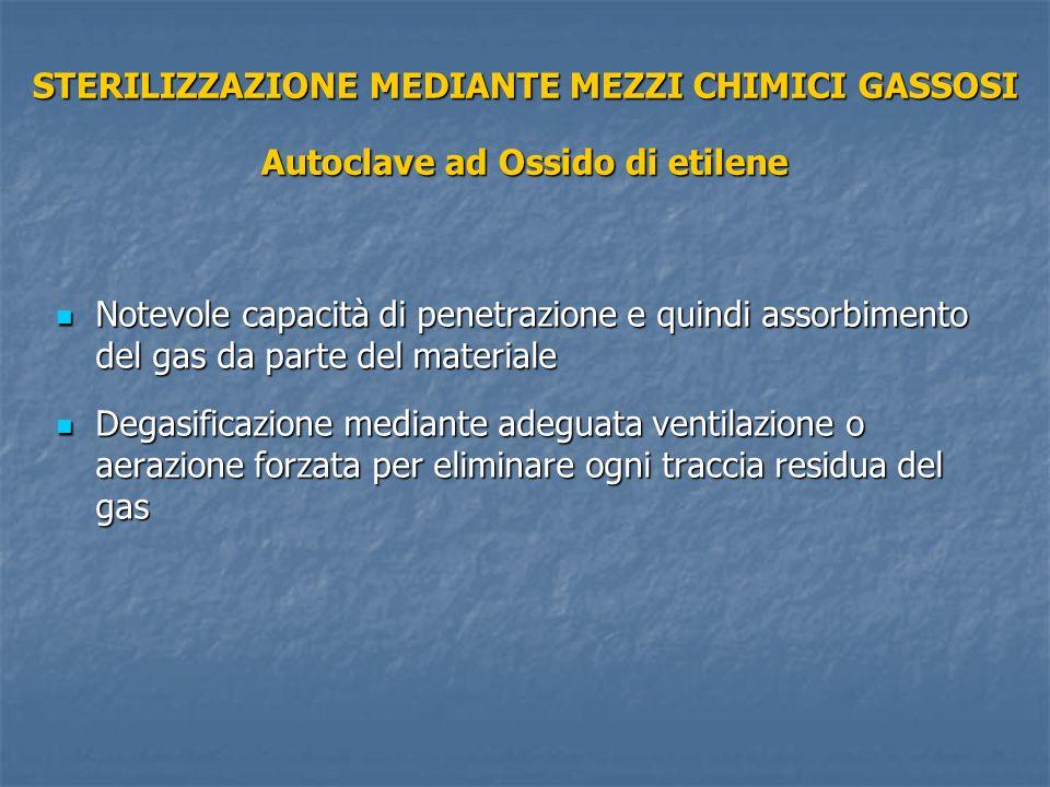 STERILIZZAZIONE MEDIANTE MEZZI CHIMICI GASSOSI Autoclave ad Ossido di etilene Notevole capacità di penetrazione e quindi assorbimento del gas da parte