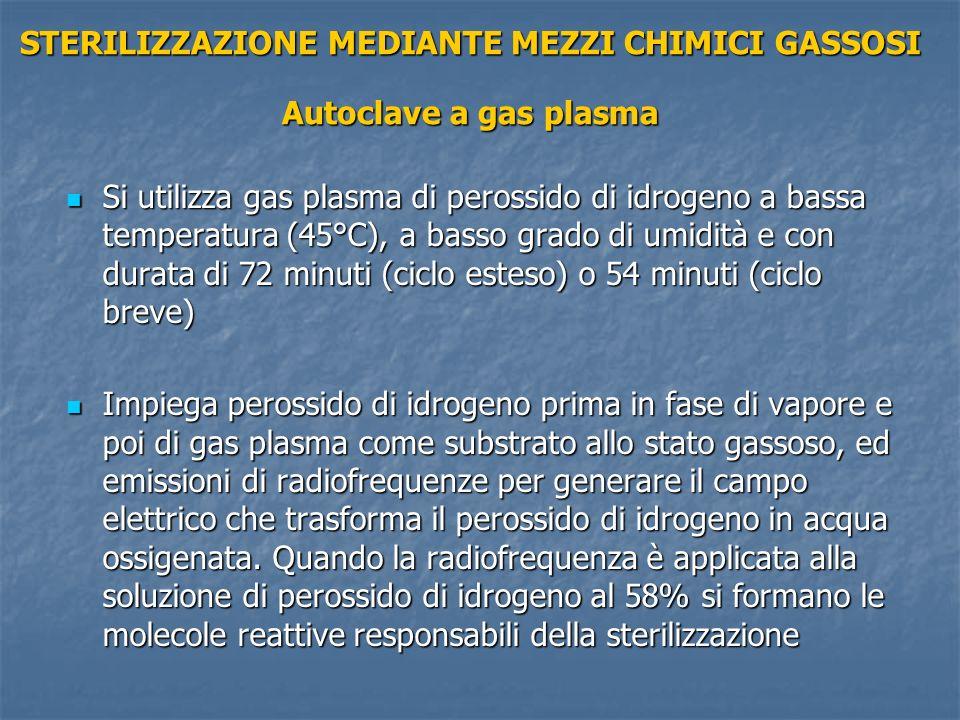 STERILIZZAZIONE MEDIANTE MEZZI CHIMICI GASSOSI Autoclave a gas plasma Si utilizza gas plasma di perossido di idrogeno a bassa temperatura (45°C), a ba