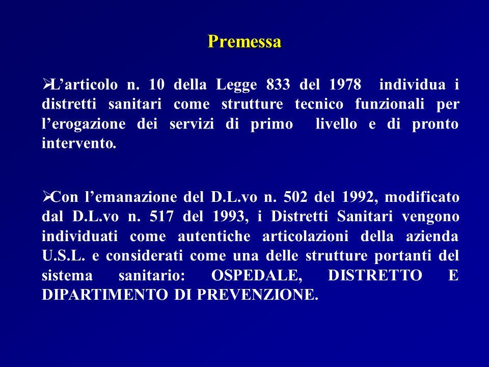 Larticolo n. 10 della Legge 833 del 1978 individua i distretti sanitari come strutture tecnico funzionali per lerogazione dei servizi di primo livello