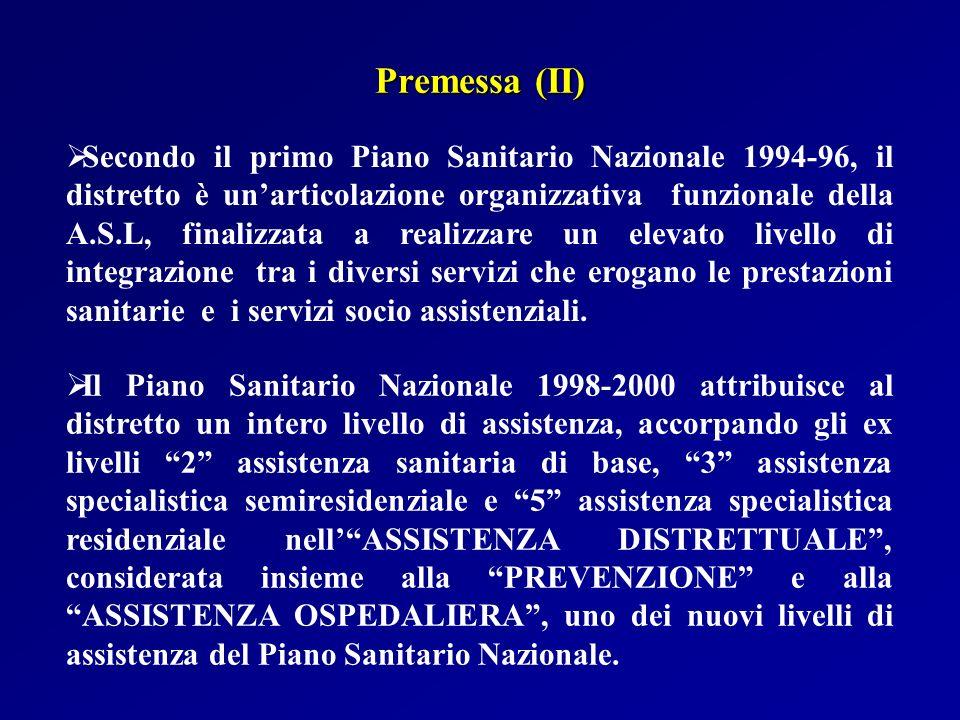 Secondo il primo Piano Sanitario Nazionale 1994-96, il distretto è unarticolazione organizzativa funzionale della A.S.L, finalizzata a realizzare un e