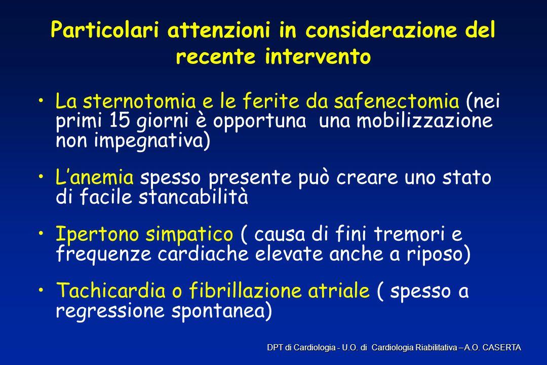 Particolari attenzioni in considerazione del recente intervento La sternotomia e le ferite da safenectomia (nei primi 15 giorni è opportuna una mobili