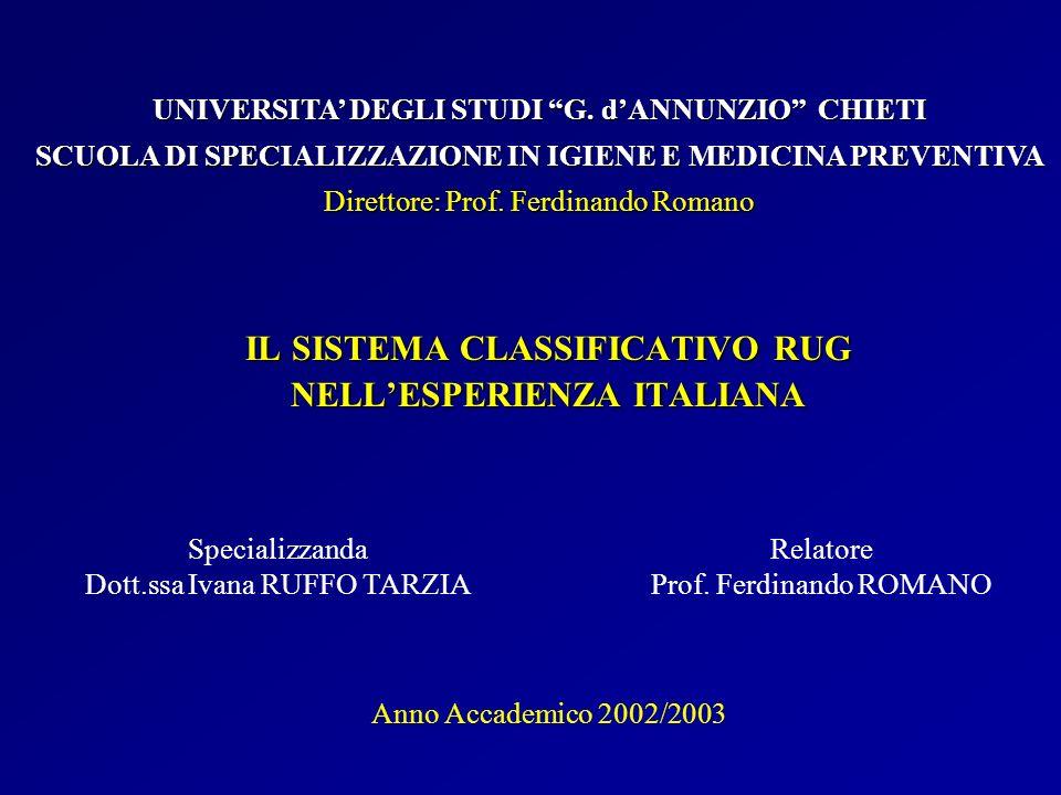 IL SISTEMA CLASSIFICATIVO RUG NELLESPERIENZA ITALIANA Specializzanda Dott.ssa Ivana RUFFO TARZIA UNIVERSITA DEGLI STUDI G. dANNUNZIO CHIETI SCUOLA DI