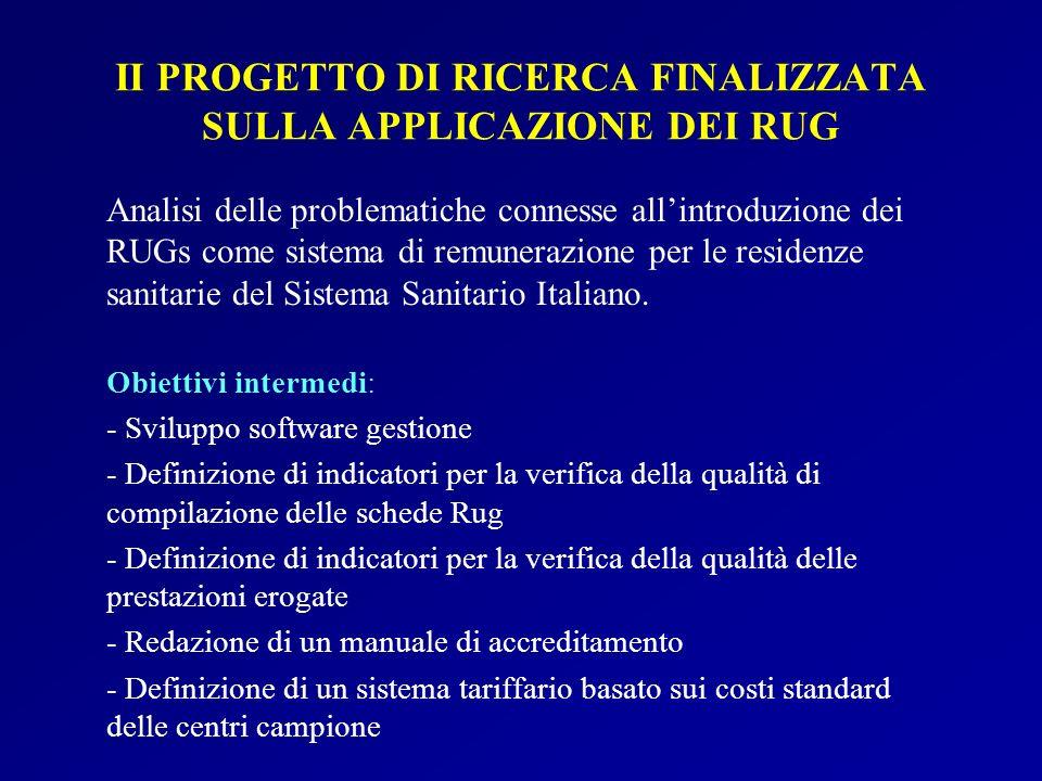 II PROGETTO DI RICERCA FINALIZZATA SULLA APPLICAZIONE DEI RUG Analisi delle problematiche connesse allintroduzione dei RUGs come sistema di remunerazi