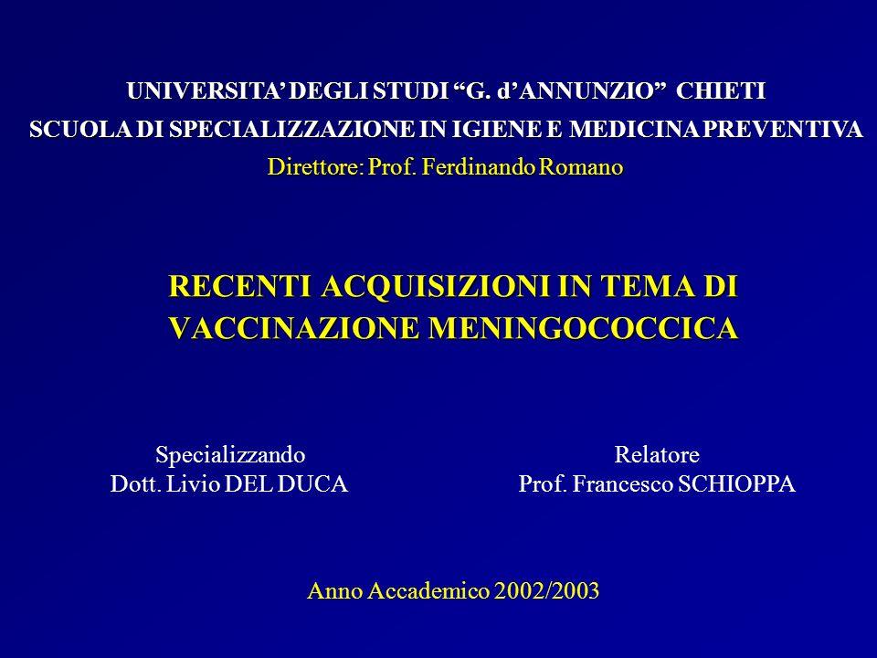 RECENTI ACQUISIZIONI IN TEMA DI VACCINAZIONE MENINGOCOCCICA Specializzando Dott. Livio DEL DUCA UNIVERSITA DEGLI STUDI G. dANNUNZIO CHIETI SCUOLA DI S