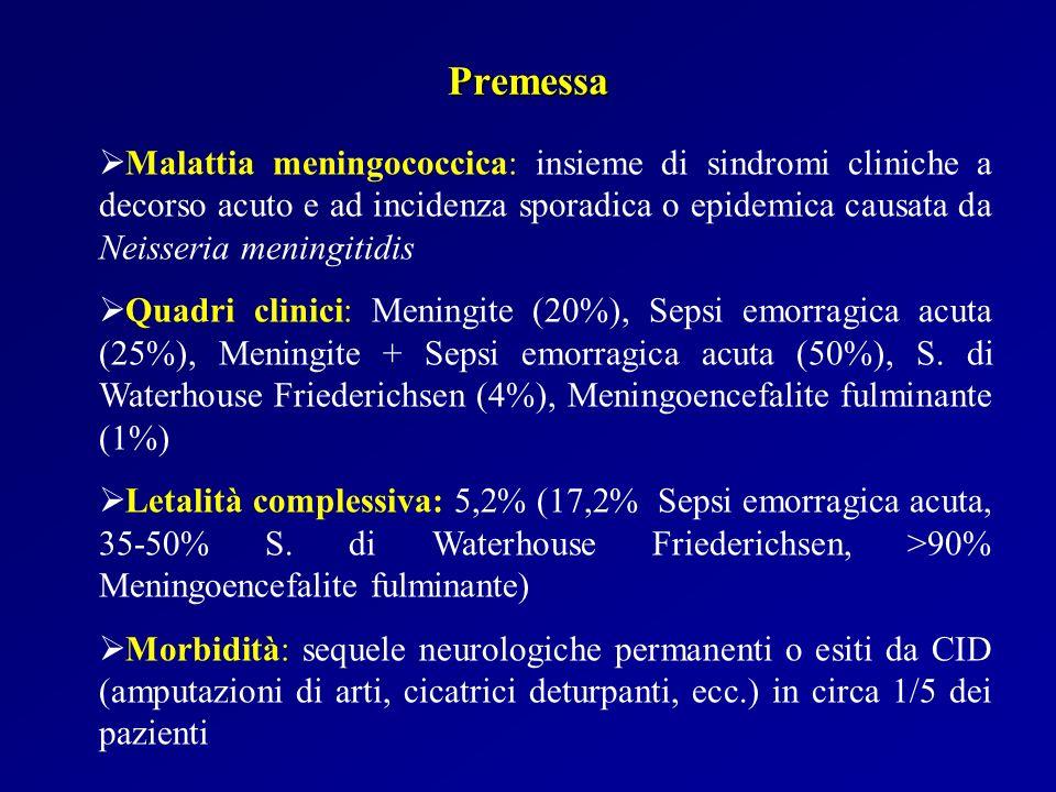 Premessa (II) Meningite meningococcica: malattia infettiva batterica acuta ad esordio rapido e decorso talvolta fulminante Tasso di letalità: 2,3% Diagnosi tempestiva e corretta terapia: portano a completa e rapida guarigione nella maggioranza dei casi Immunoprofilassi: non esistono ancora vaccini efficaci contro il meningococco di gruppo B, causa prima di meningite in Italia, Europa e U.S.A.