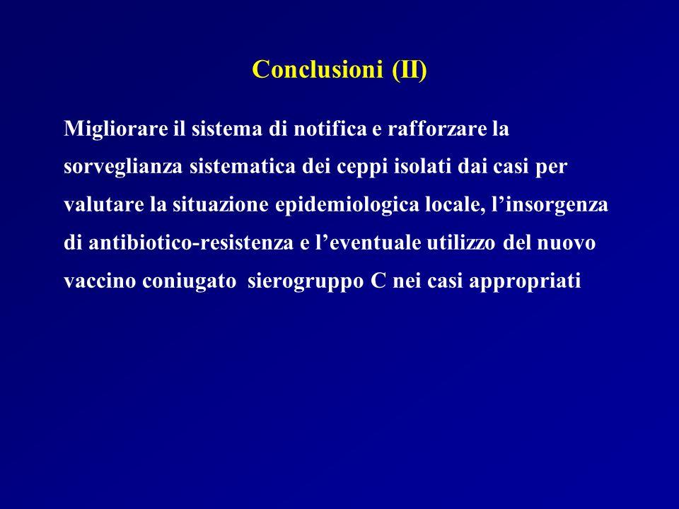 Conclusioni (II) Migliorare il sistema di notifica e rafforzare la sorveglianza sistematica dei ceppi isolati dai casi per valutare la situazione epid