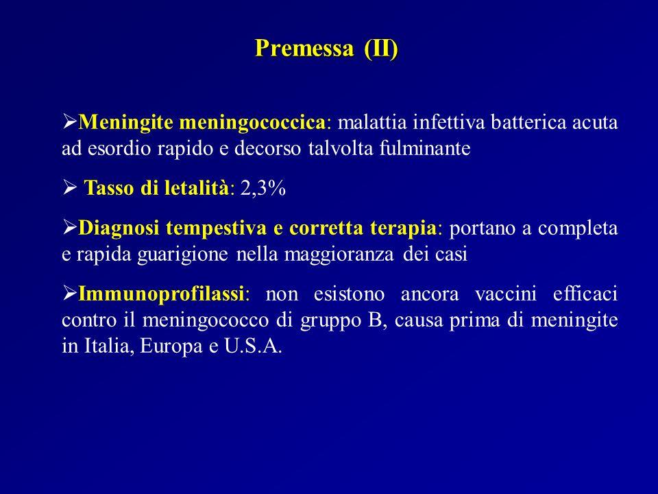 Epidemiologia La malattia meningococcica è la prima causa infettiva di morte nei Paesi industrializzati In Europa e USA lincidenza è di 1-3 casi per 100.000 abitanti negli adulti e di 5,9 casi per 100.000 bambini con meno di 5 anni; secondo picco d incidenza tra 15 e 19 anni I sierogruppi responsabili in ordine di frequenza sono: B (50-90% dei casi) C (aumentato in UK fino al 30%) Y e W135 (comunità chiuse, anziani, immunodepressi)