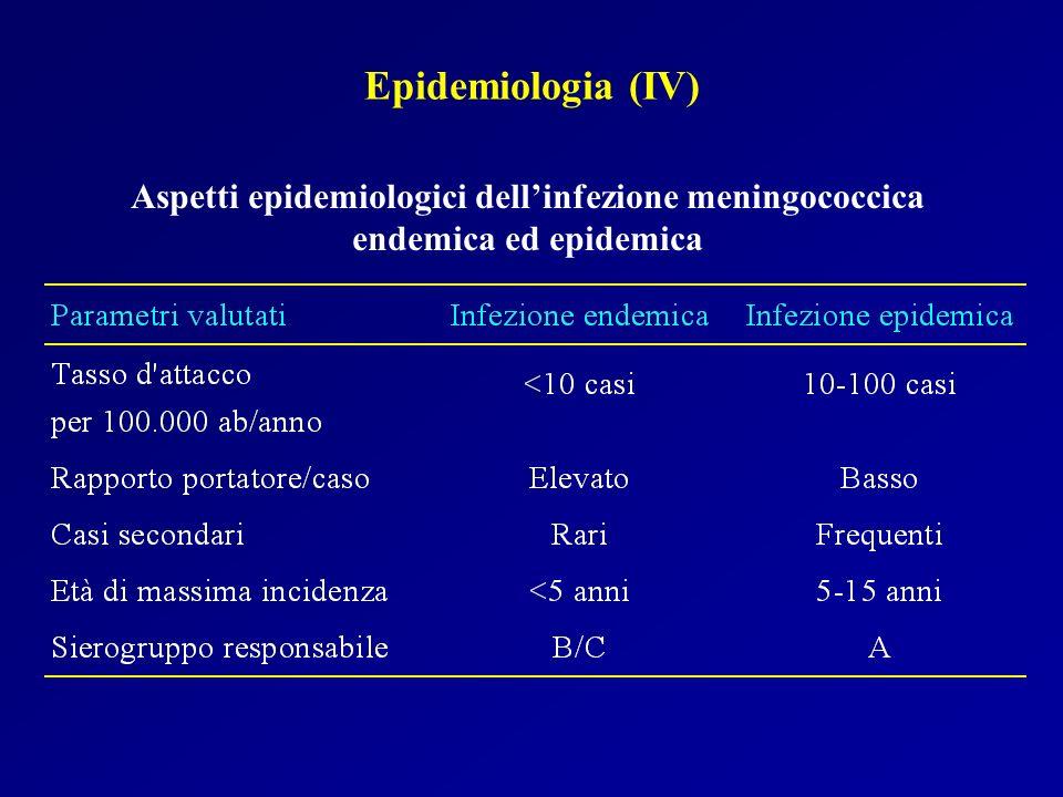 Aspetti epidemiologici dellinfezione meningococcica endemica ed epidemica Epidemiologia (IV)