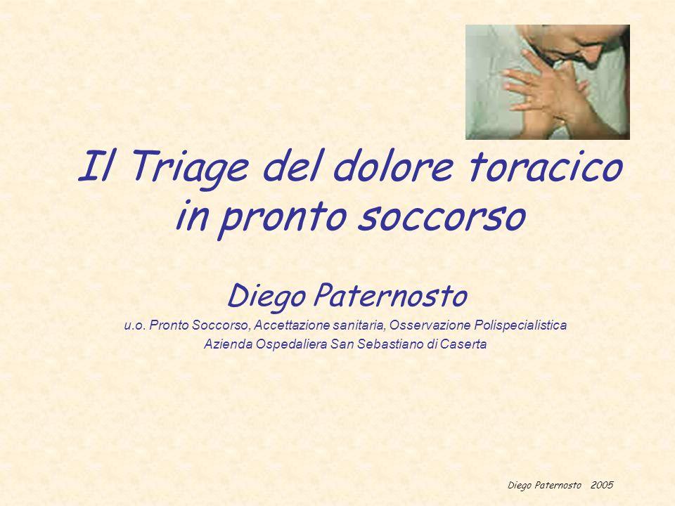 Diego Paternosto 2005 Il Triage del dolore toracico in pronto soccorso Diego Paternosto u.o. Pronto Soccorso, Accettazione sanitaria, Osservazione Pol