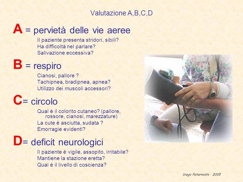 Diego Paternosto 2005 Valutazione A,B,C,D A = pervietà delle vie aeree Il paziente presenta stridori, sibili? Ha difficoltà nel parlare? Salivazione e