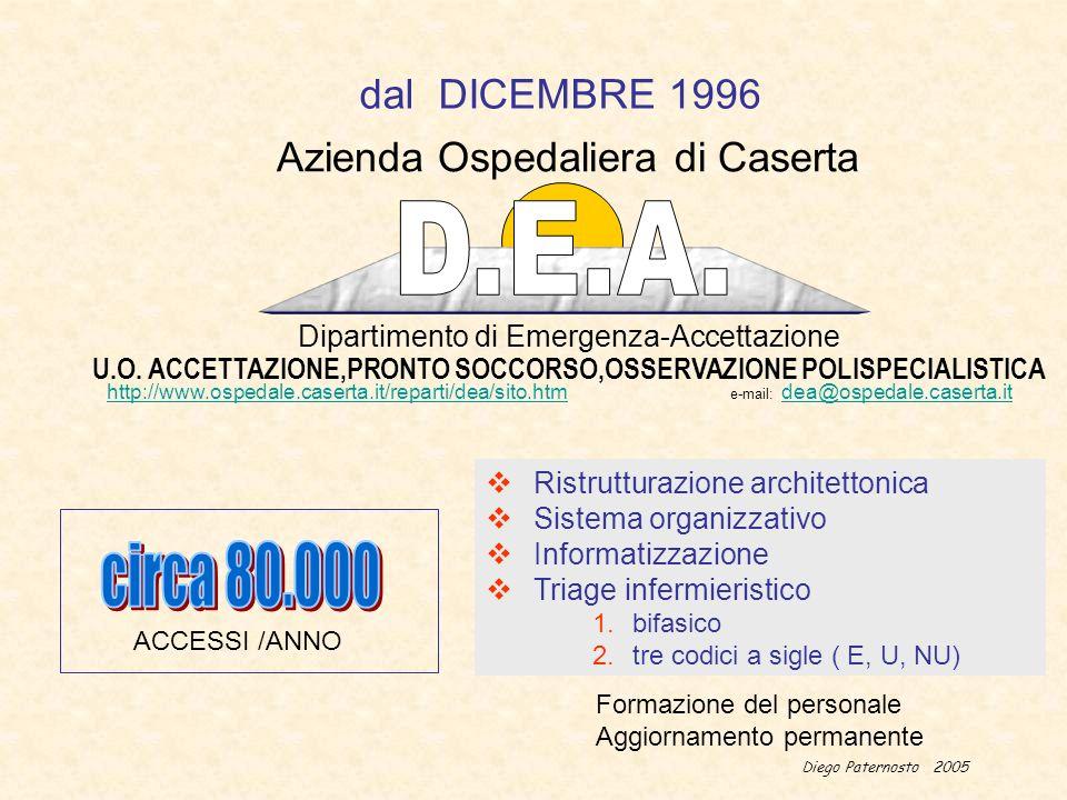 Diego Paternosto 2005 Dipartimento di Emergenza-Accettazione U.O. ACCETTAZIONE,PRONTO SOCCORSO,OSSERVAZIONE POLISPECIALISTICA Azienda Ospedaliera di C