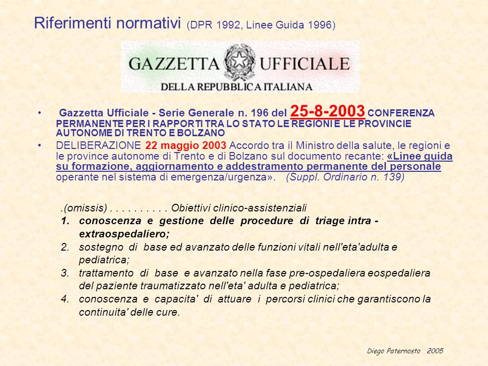 Diego Paternosto 2005 Riferimenti normativi (DPR 1992, Linee Guida 1996) Gazzetta Ufficiale - Serie Generale n. 196 del 25-8-2003 CONFERENZA PERMANENT