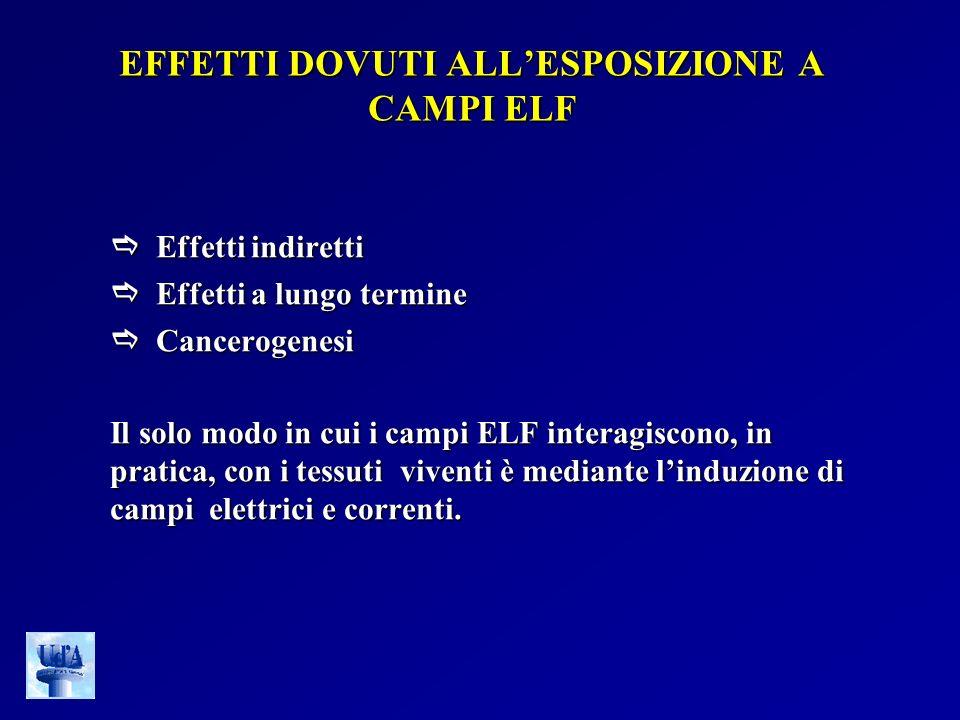 EFFETTI DOVUTI ALLESPOSIZIONE A CAMPI ELF Effetti indiretti Effetti indiretti Effetti a lungo termine Effetti a lungo termine Cancerogenesi Cancerogen