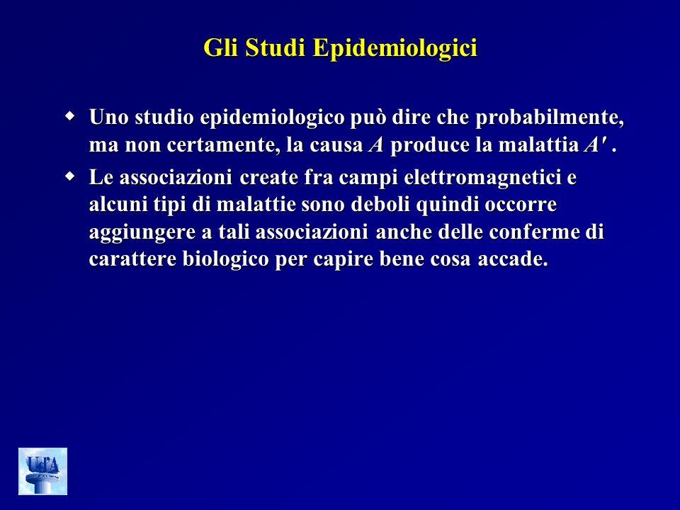 Gli Studi Epidemiologici Uno studio epidemiologico può dire che probabilmente, ma non certamente, la causa A produce la malattia A'. Uno studio epidem