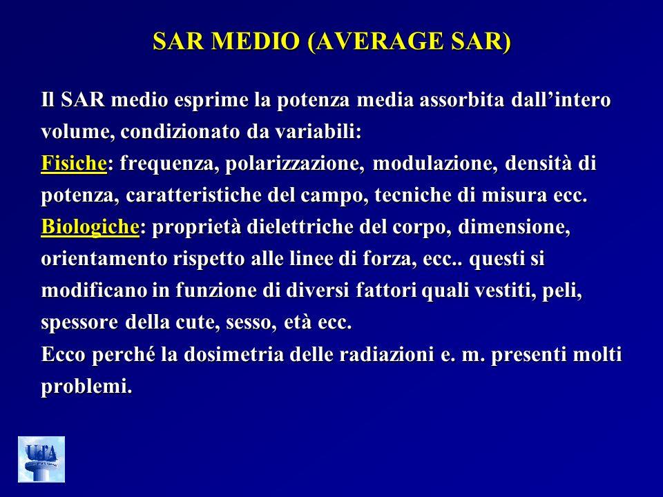 SAR MEDIO (AVERAGE SAR) Il SAR medio esprime la potenza media assorbita dallintero volume, condizionato da variabili: Fisiche: frequenza, polarizzazio