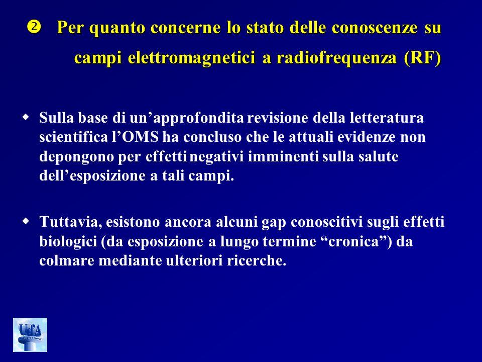 Per quanto concerne lo stato delle conoscenze su campi elettromagnetici a radiofrequenza (RF) Per quanto concerne lo stato delle conoscenze su campi e