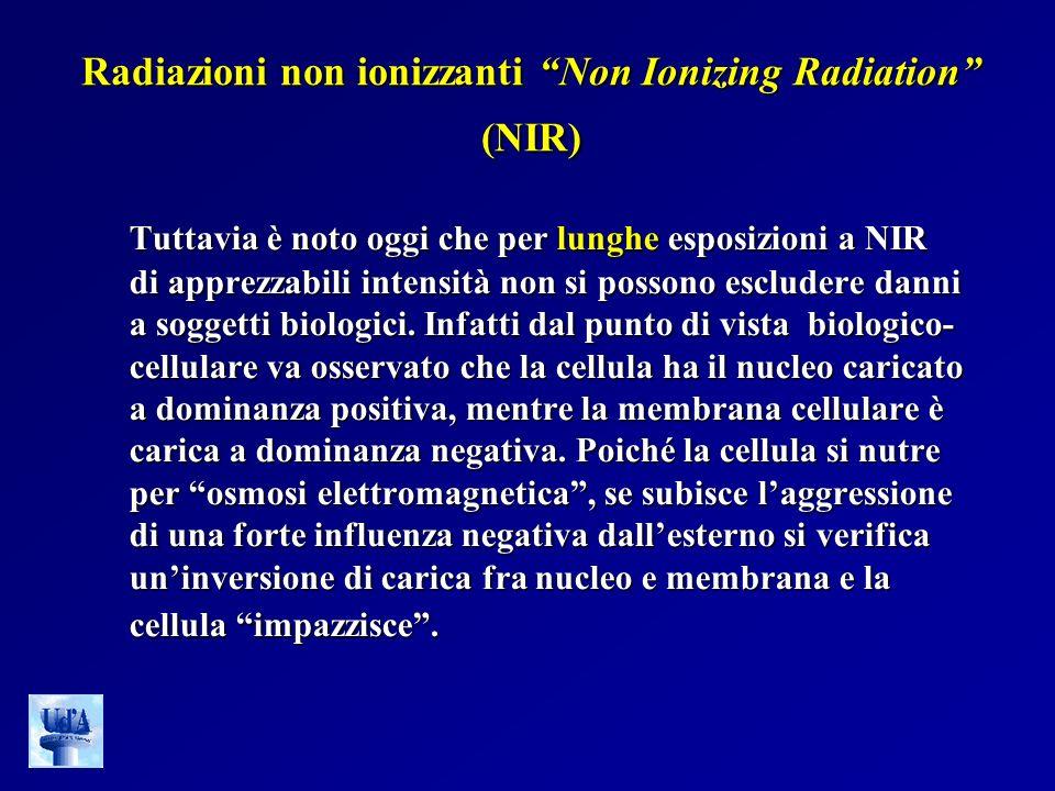 Radiazioni non ionizzanti Non Ionizing Radiation (NIR) Tuttavia è noto oggi che per lunghe esposizioni a NIR di apprezzabili intensità non si possono