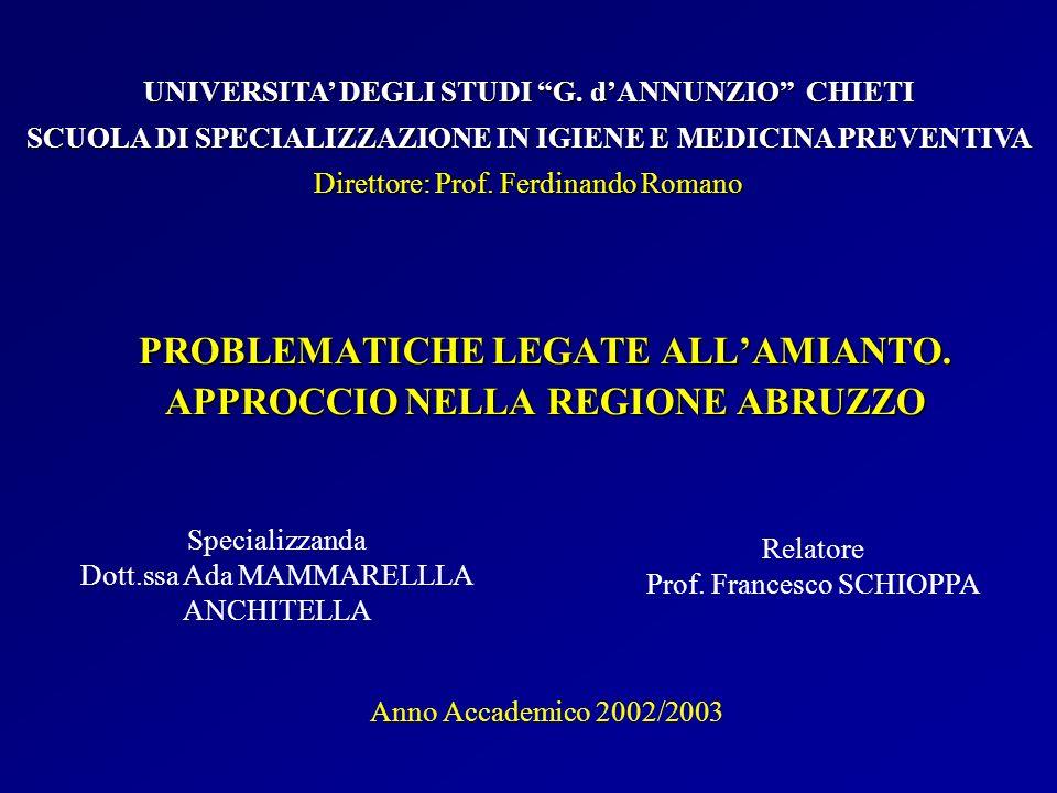 Quantità (q.li) amianto bonificato nella regione Abruzzo anni 1996 – 2001 Risultati (IV)