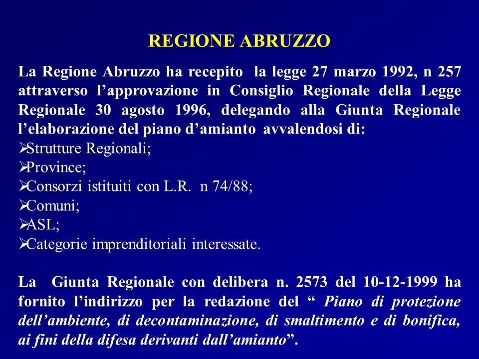 La Regione Abruzzo ha recepito la legge 27 marzo 1992, n 257 attraverso lapprovazione in Consiglio Regionale della Legge Regionale 30 agosto 1996, del