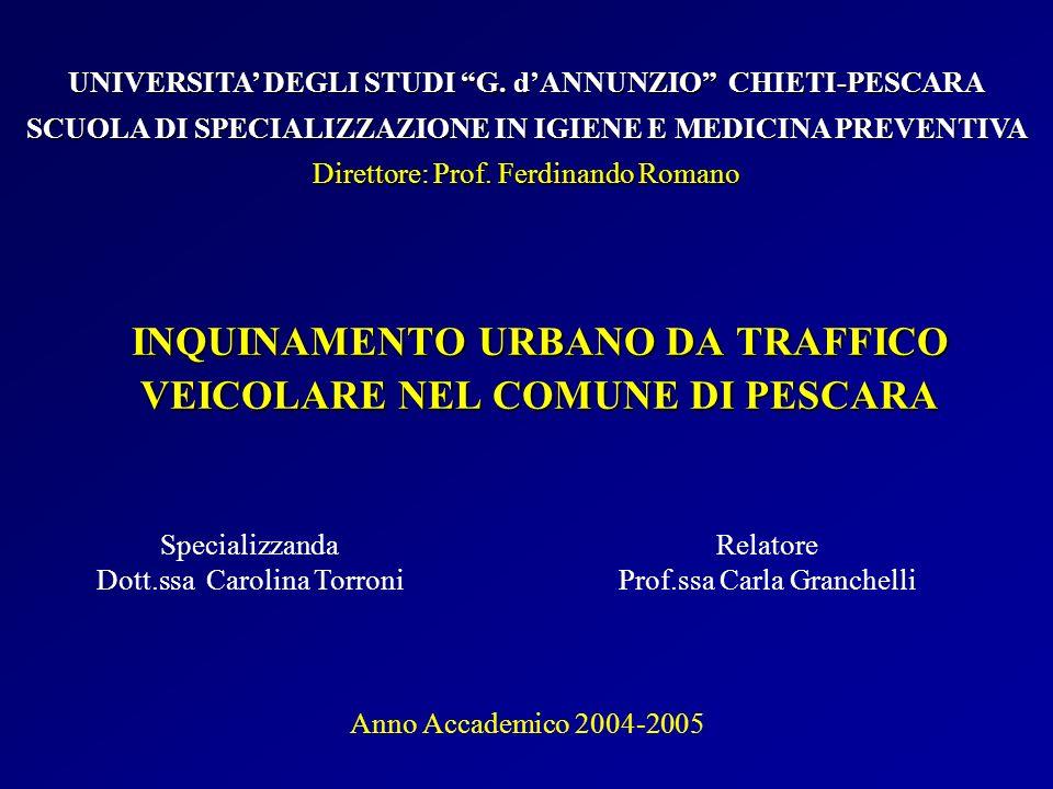 INQUINAMENTO URBANO DA TRAFFICO VEICOLARE NEL COMUNE DI PESCARA Specializzanda Dott.ssa Carolina Torroni UNIVERSITA DEGLI STUDI G. dANNUNZIO CHIETI-PE